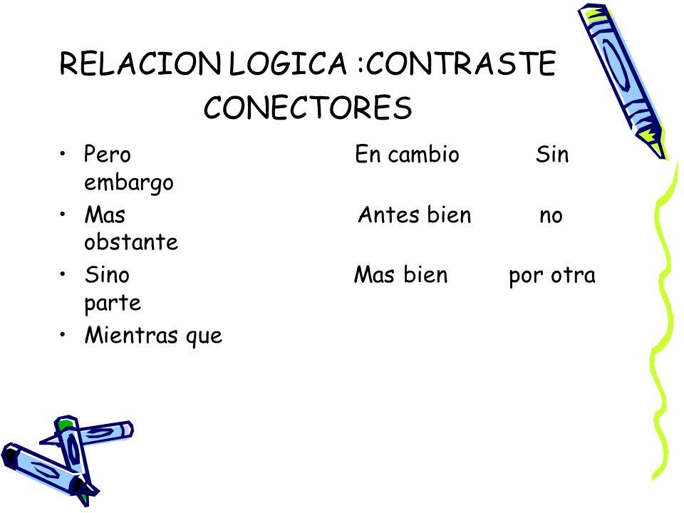 RELACION LOGICA :CONTRASTE CONECTORES