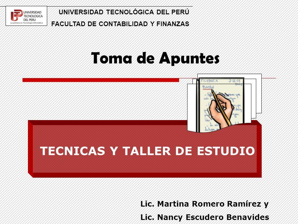 TECNICAS Y TALLER DE ESTUDIO