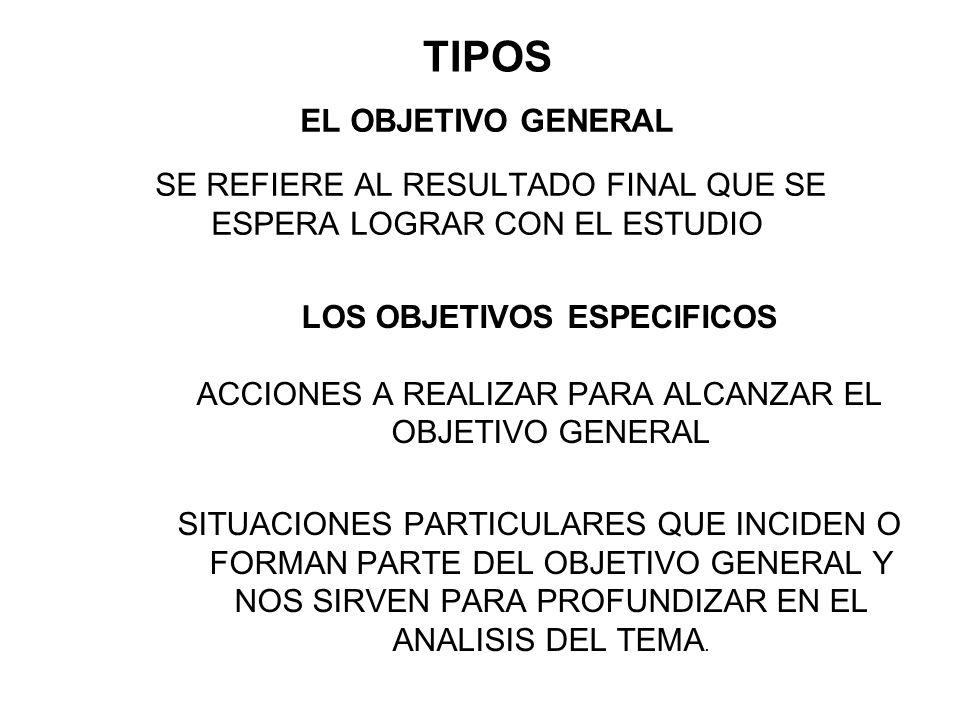TIPOS EL OBJETIVO GENERAL SE REFIERE AL RESULTADO FINAL QUE SE ESPERA LOGRAR CON EL ESTUDIO. LOS OBJETIVOS ESPECIFICOS.