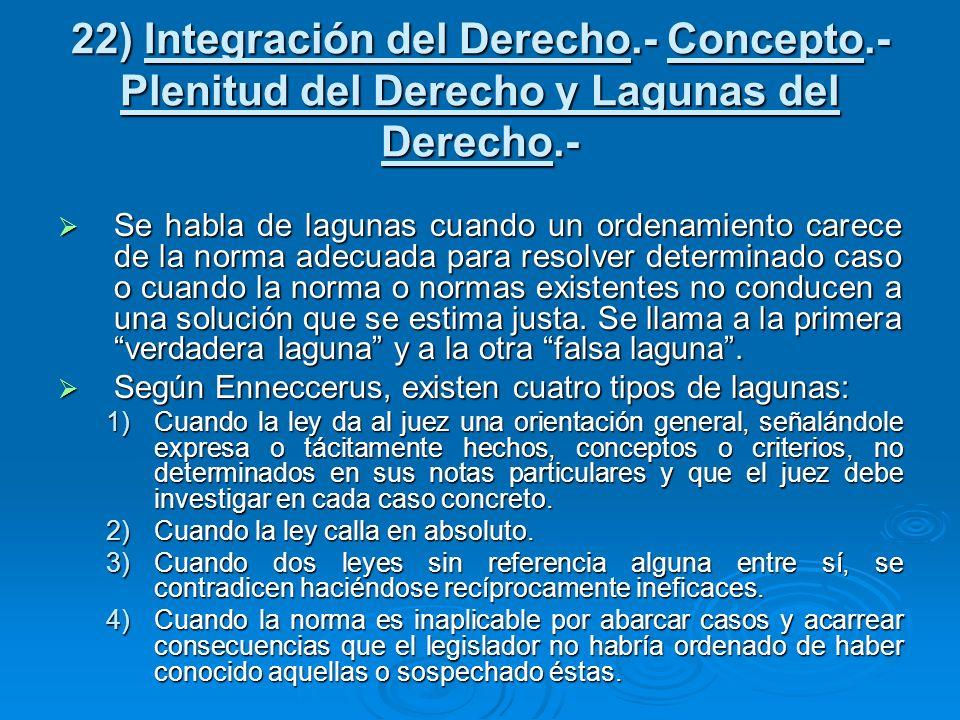 22) Integración del Derecho. - Concepto