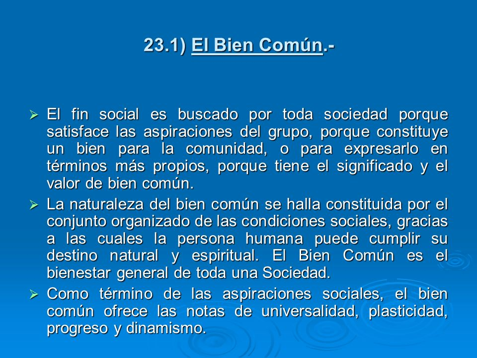 23.1) El Bien Común.-