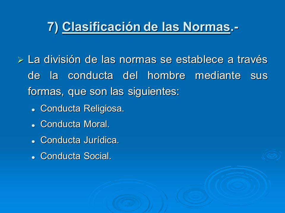 7) Clasificación de las Normas.-