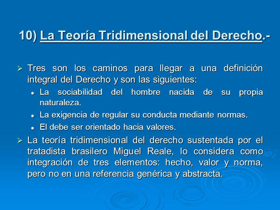 10) La Teoría Tridimensional del Derecho.-