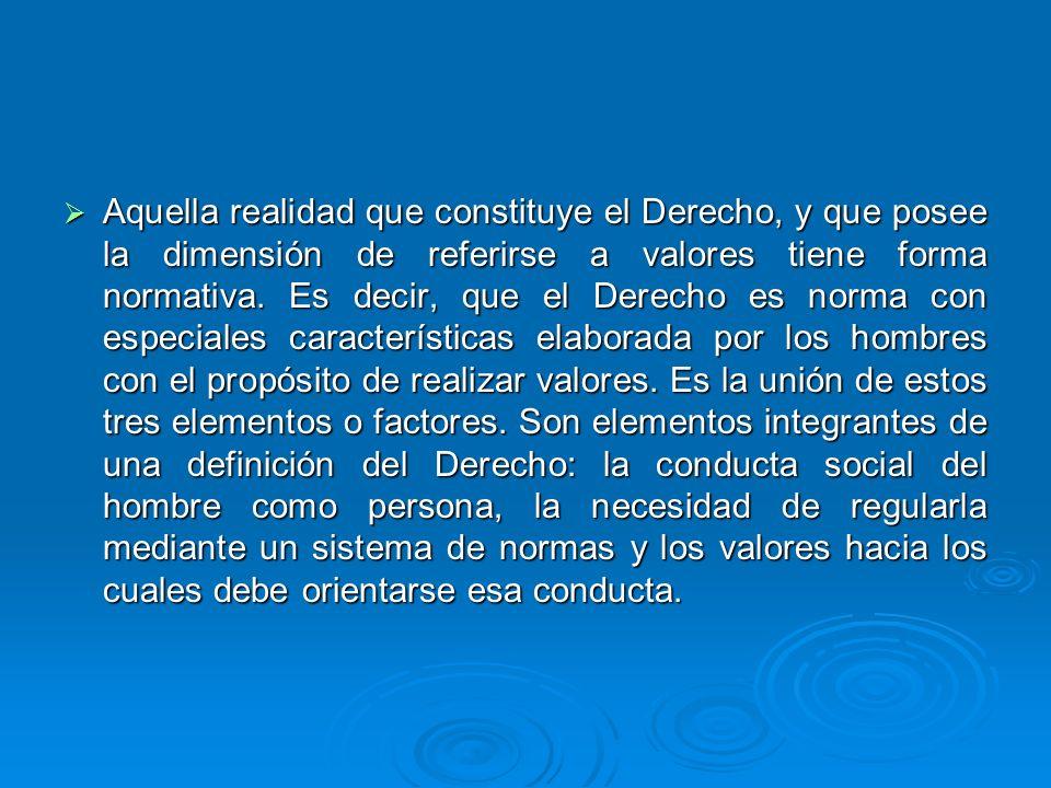 Aquella realidad que constituye el Derecho, y que posee la dimensión de referirse a valores tiene forma normativa.