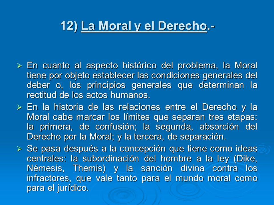 12) La Moral y el Derecho.-