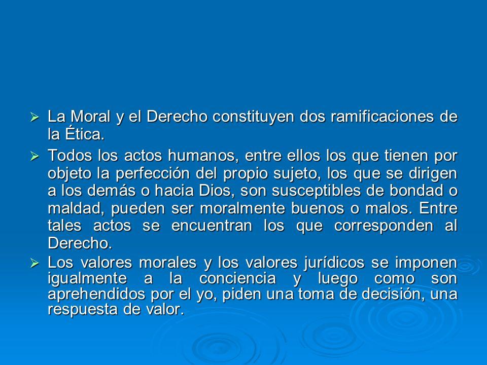 La Moral y el Derecho constituyen dos ramificaciones de la Ética.