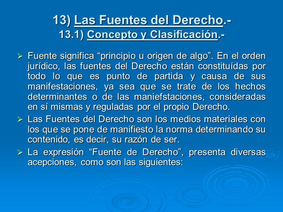 13) Las Fuentes del Derecho.- 13.1) Concepto y Clasificación.-
