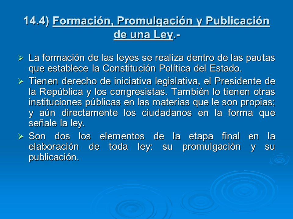 14.4) Formación, Promulgación y Publicación de una Ley.-