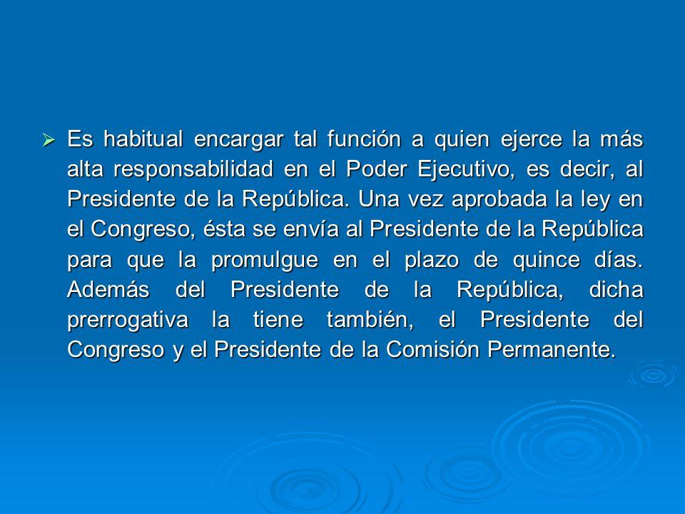 Es habitual encargar tal función a quien ejerce la más alta responsabilidad en el Poder Ejecutivo, es decir, al Presidente de la República.
