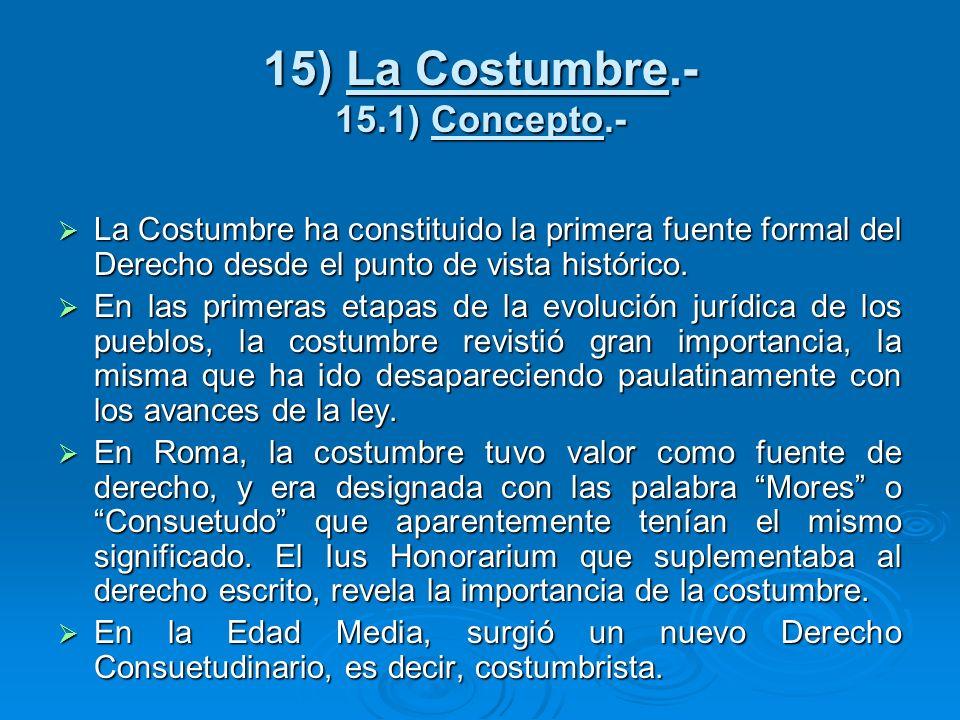 15) La Costumbre.- 15.1) Concepto.-