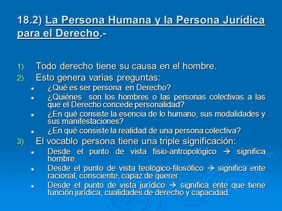 18.2) La Persona Humana y la Persona Jurídica para el Derecho.-