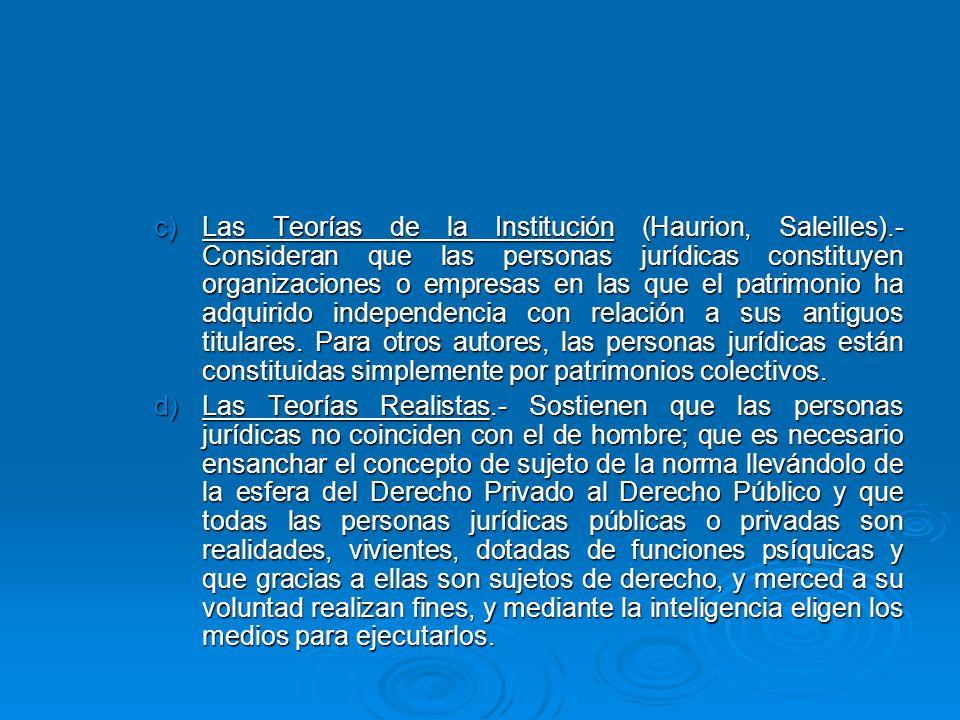 Las Teorías de la Institución (Haurion, Saleilles)