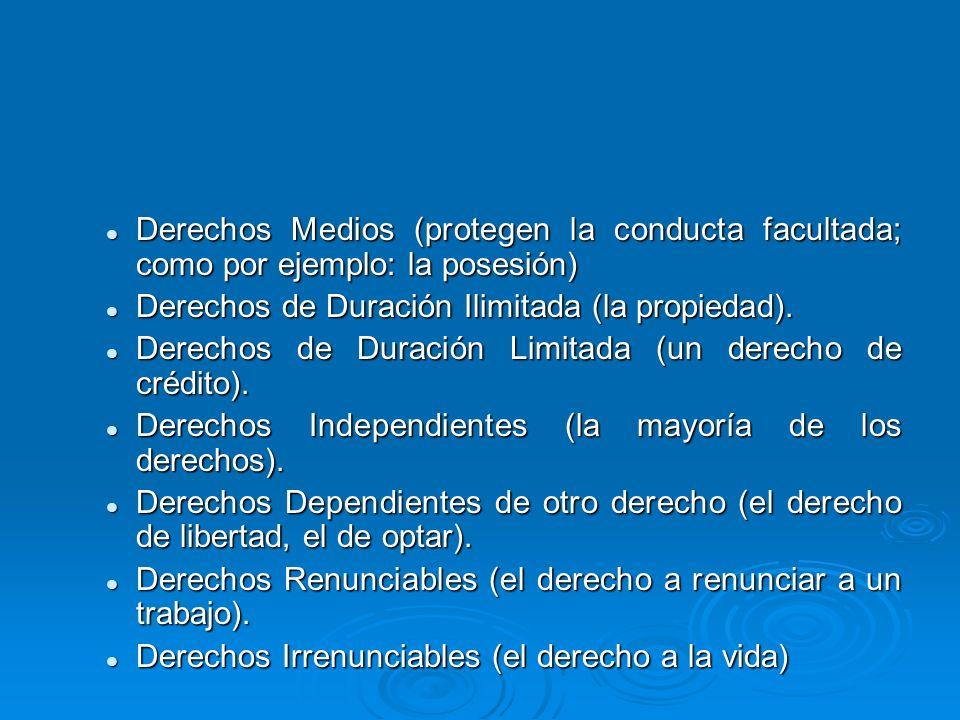 Derechos Medios (protegen la conducta facultada; como por ejemplo: la posesión)