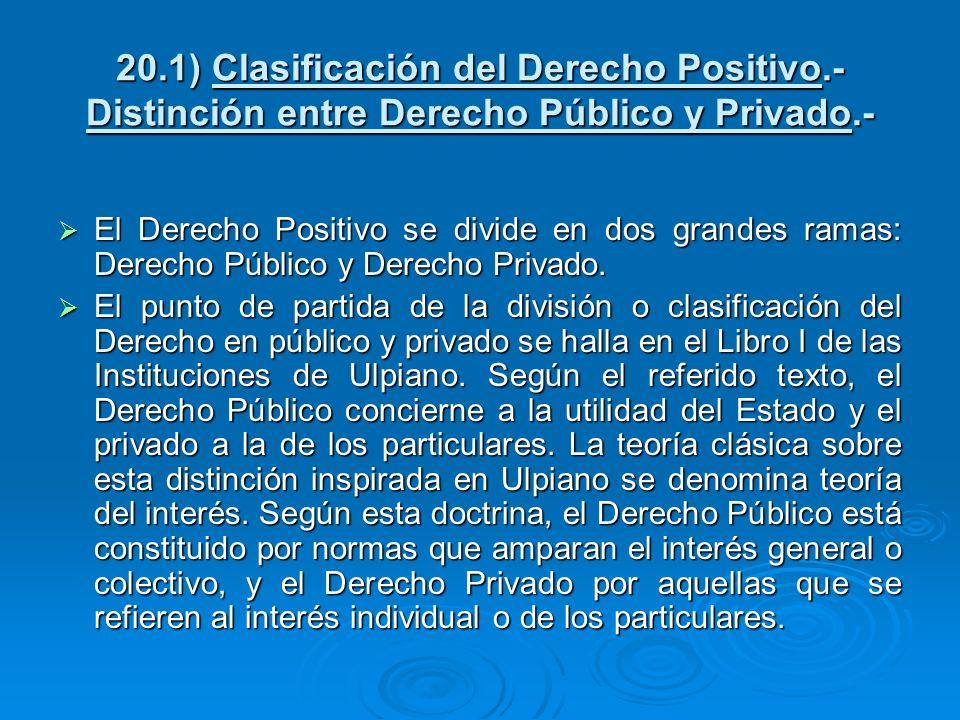 20. 1) Clasificación del Derecho Positivo