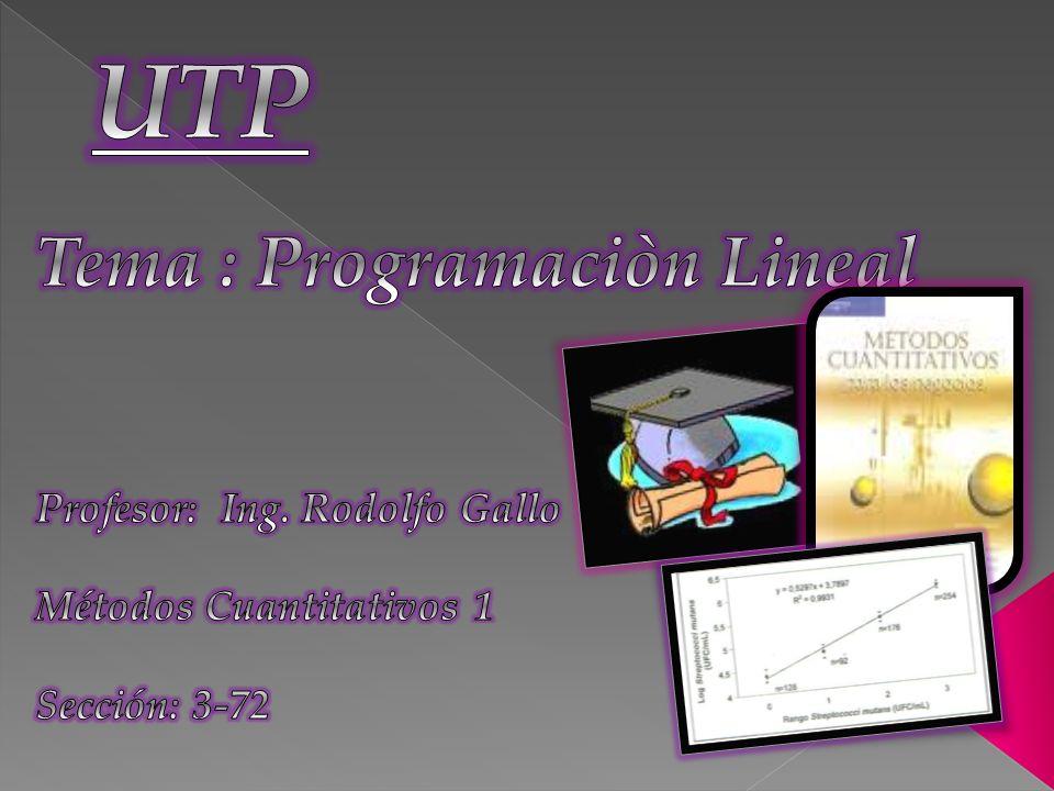 UTP Tema : Programaciòn Lineal Profesor: Ing. Rodolfo Gallo