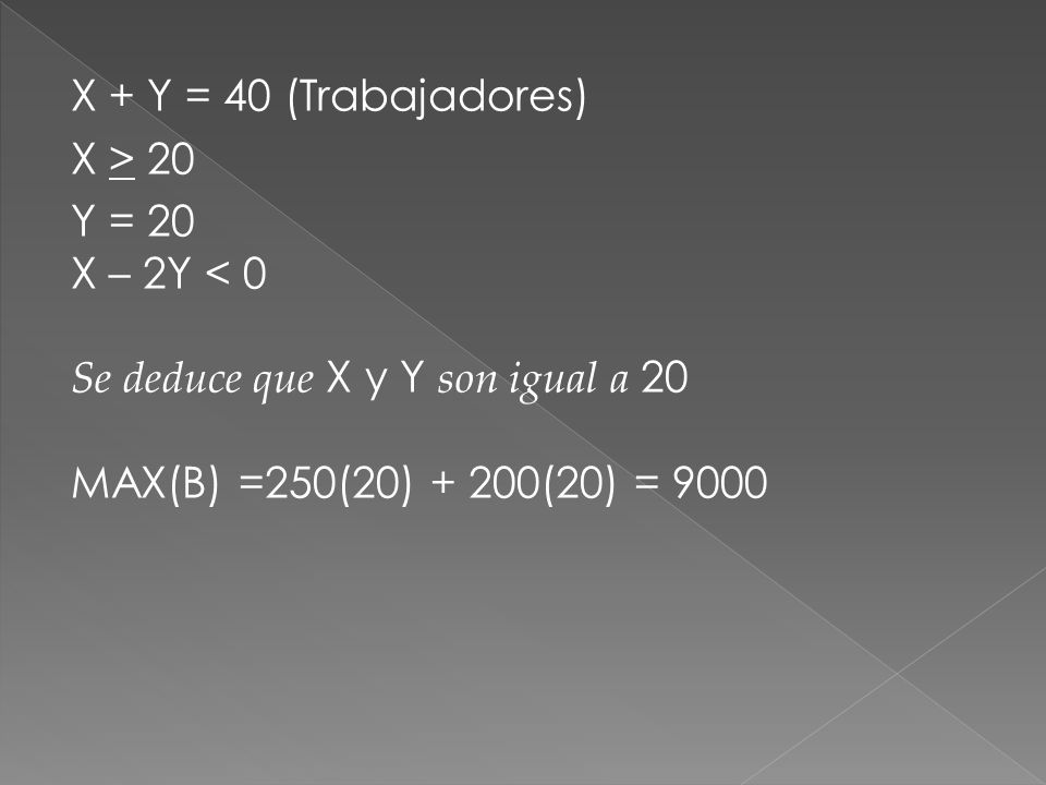 X + Y = 40 (Trabajadores) X > 20. Y = 20. X – 2Y < 0.