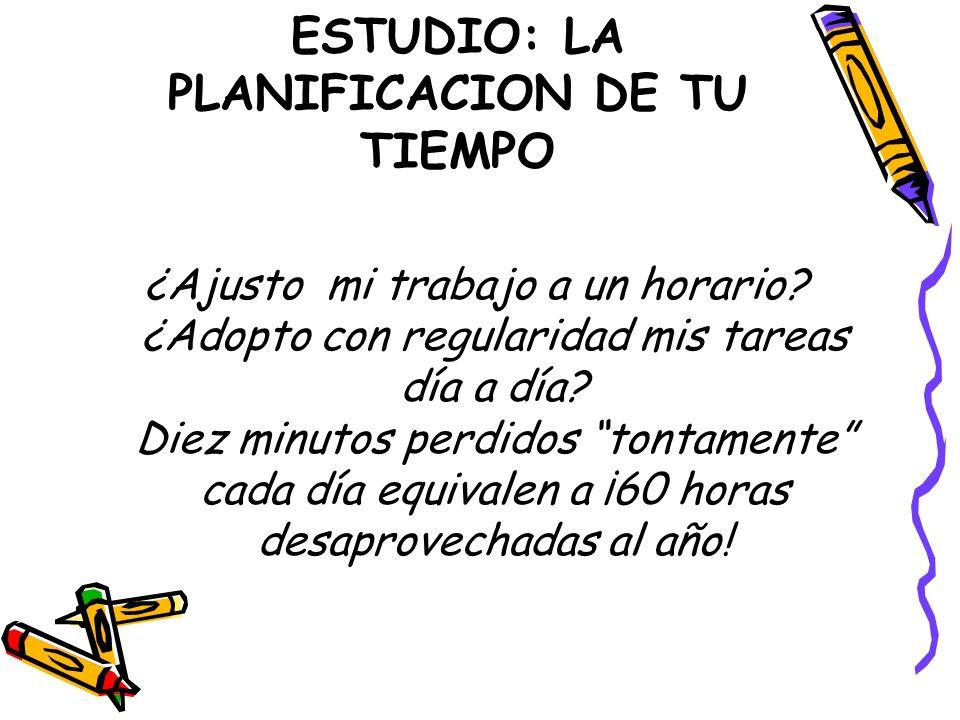 ESTUDIO: LA PLANIFICACION DE TU TIEMPO