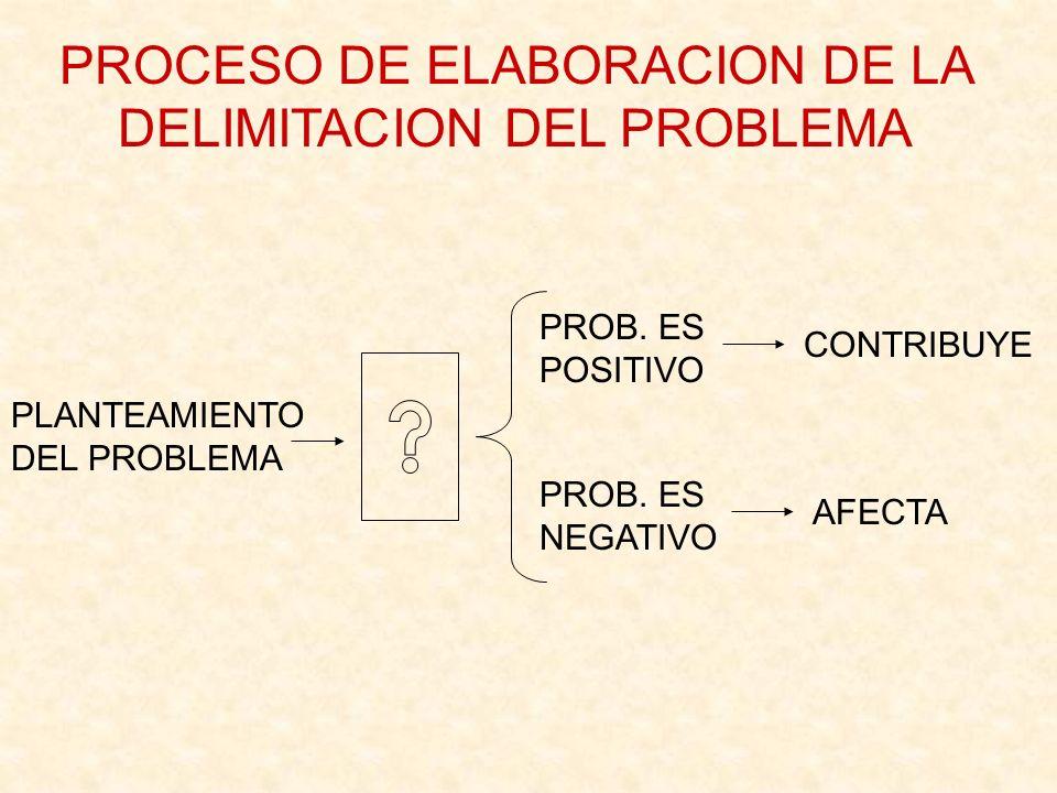 PROCESO DE ELABORACION DE LA DELIMITACION DEL PROBLEMA