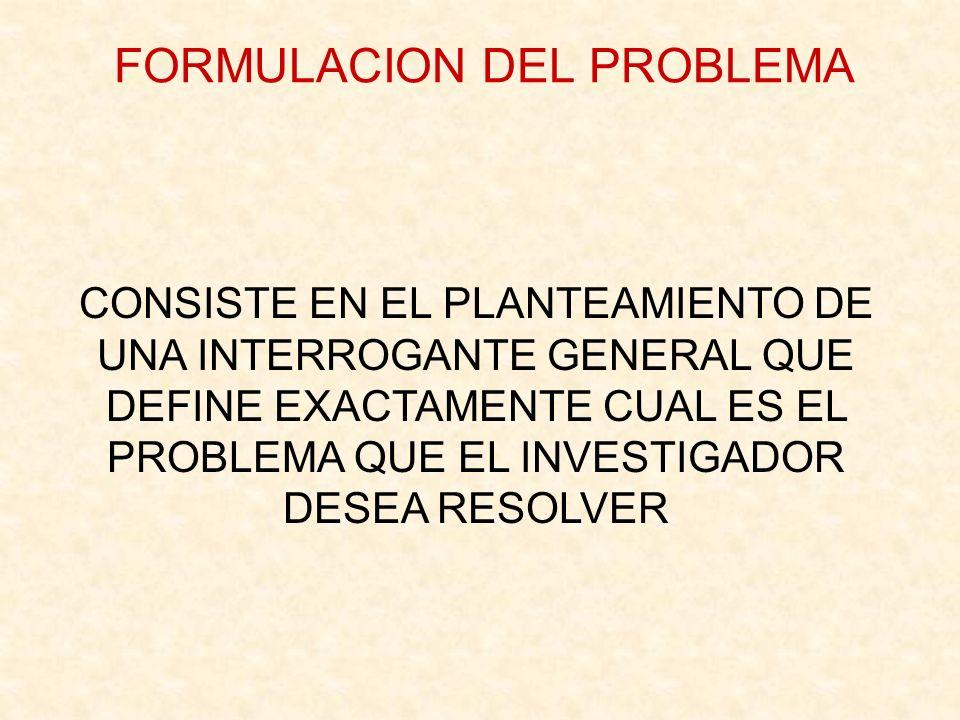 FORMULACION DEL PROBLEMA
