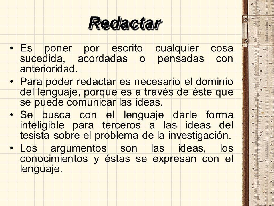 Redactar Es poner por escrito cualquier cosa sucedida, acordadas o pensadas con anterioridad.