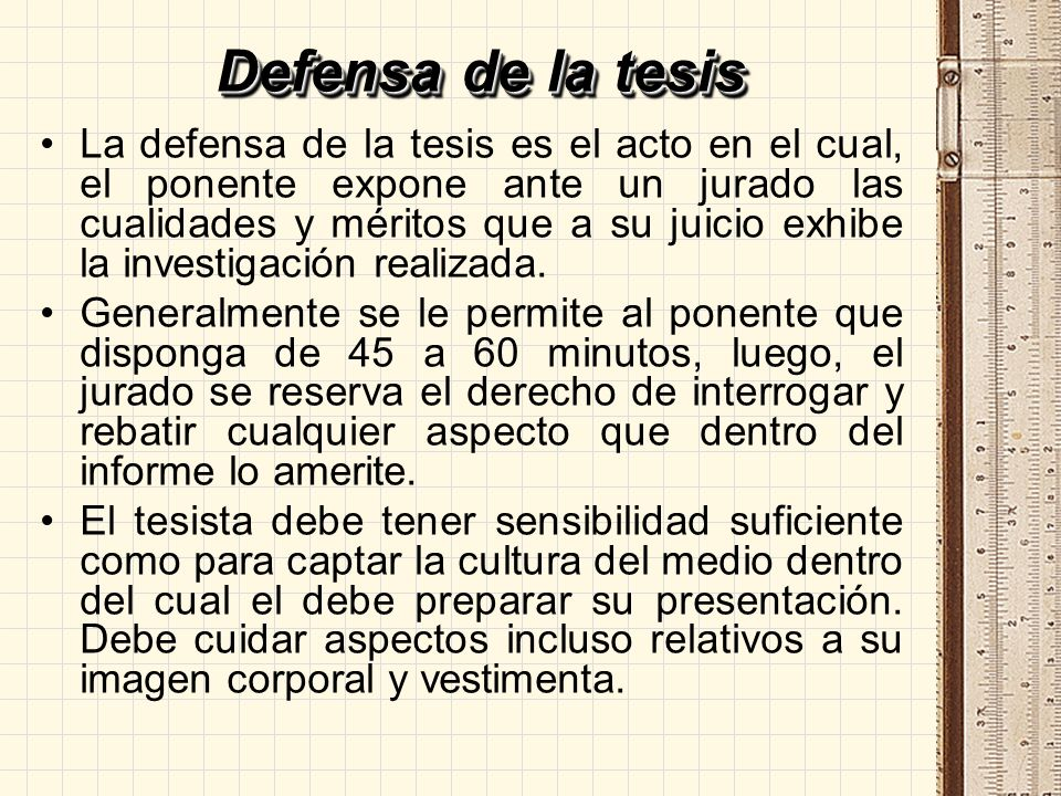 Defensa de la tesis
