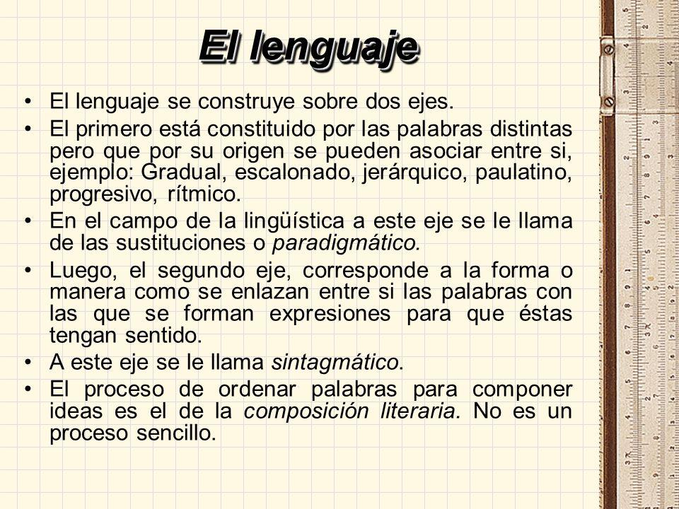 El lenguaje El lenguaje se construye sobre dos ejes.