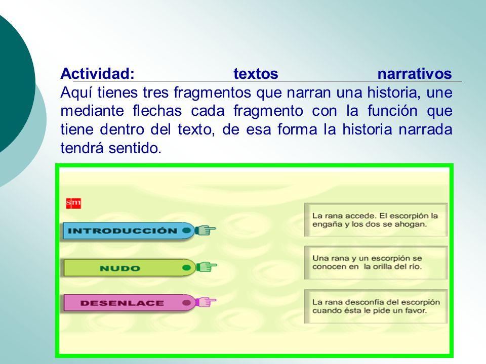 Actividad: textos narrativos Aquí tienes tres fragmentos que narran una historia, une mediante flechas cada fragmento con la función que tiene dentro del texto, de esa forma la historia narrada tendrá sentido.