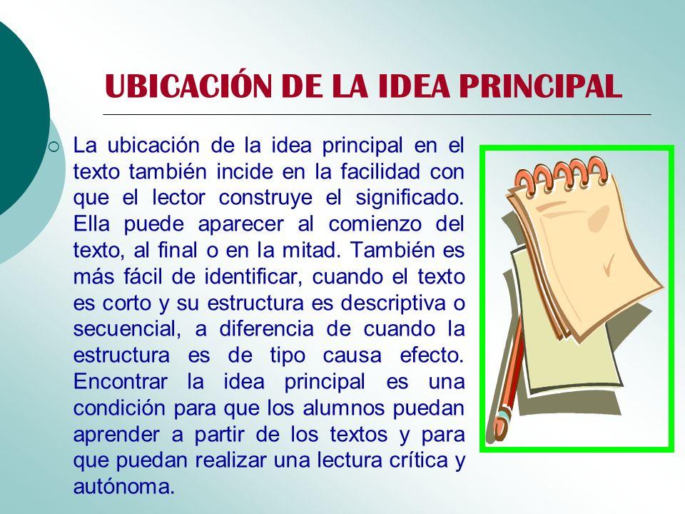 UBICACIÓN DE LA IDEA PRINCIPAL