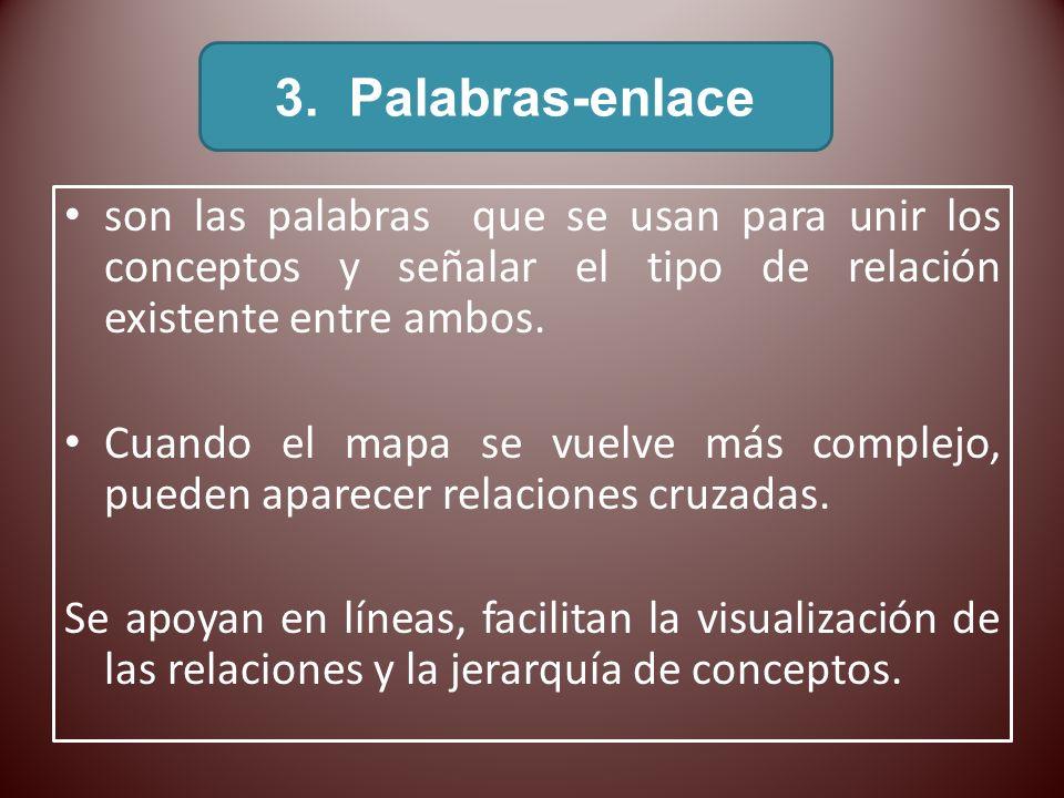 3. Palabras-enlace son las palabras que se usan para unir los conceptos y señalar el tipo de relación existente entre ambos.