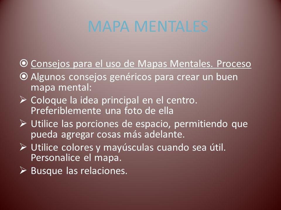 MAPA MENTALES Consejos para el uso de Mapas Mentales. Proceso