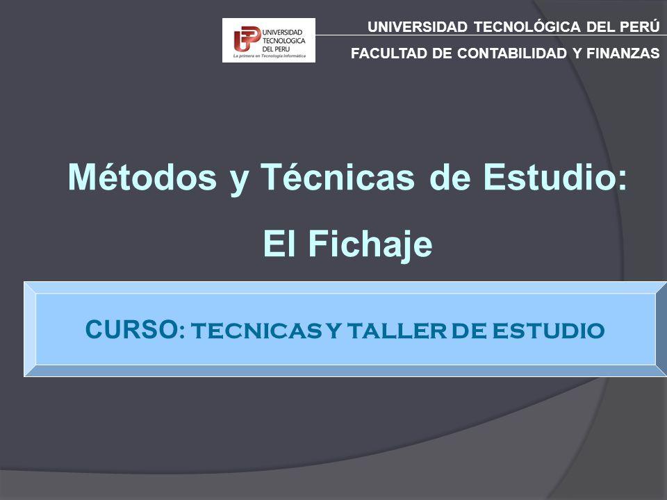 CURSO: TECNICAS Y TALLER DE ESTUDIO