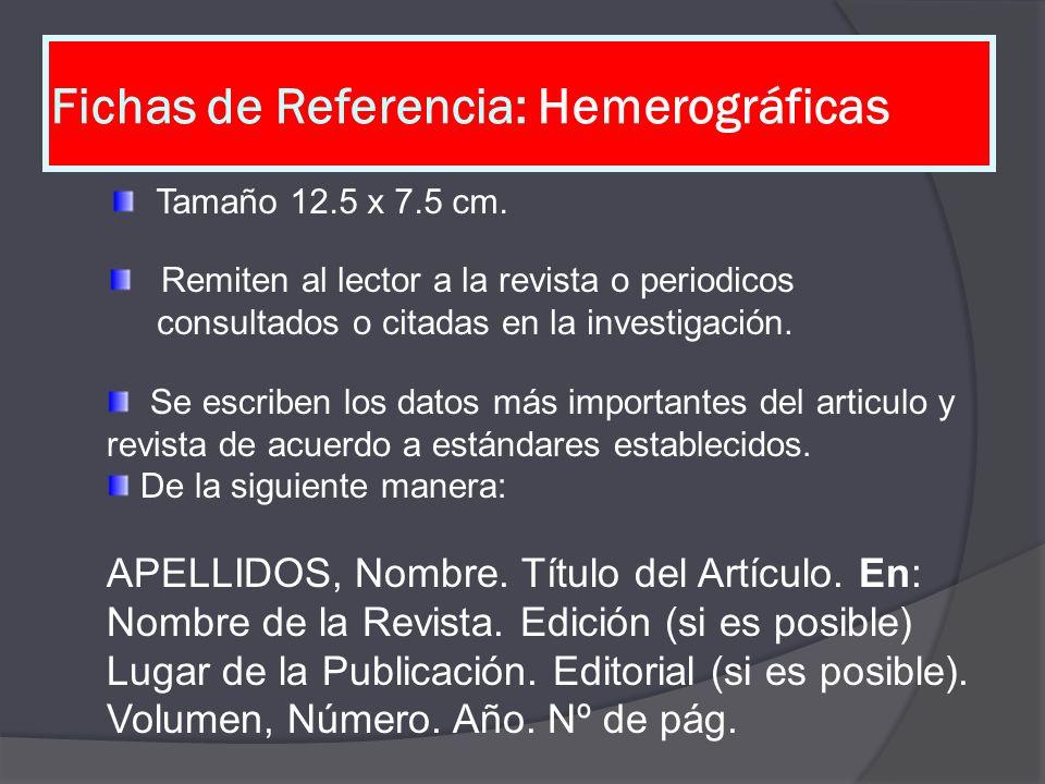 Fichas de Referencia: Hemerográficas