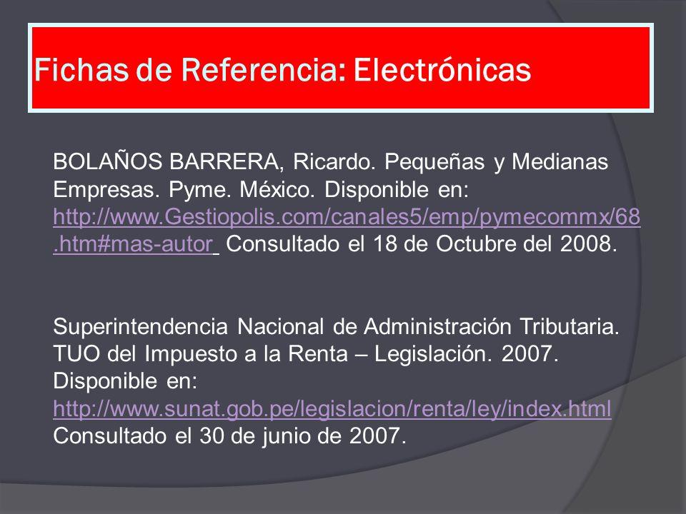 Fichas de Referencia: Electrónicas