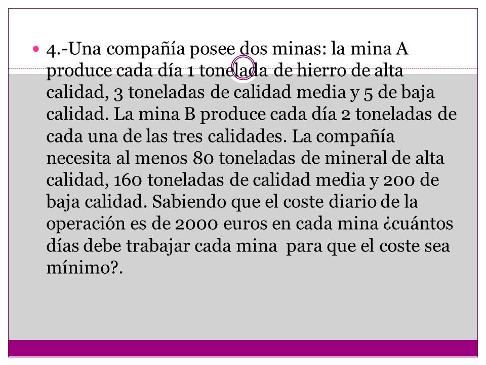 4.-Una compañía posee dos minas: la mina A produce cada día 1 tonelada de hierro de alta calidad, 3 toneladas de calidad media y 5 de baja calidad.