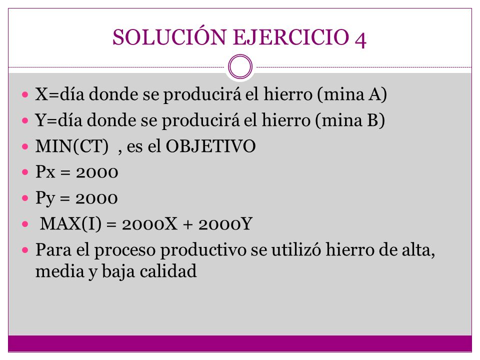 SOLUCIÓN EJERCICIO 4 X=día donde se producirá el hierro (mina A)