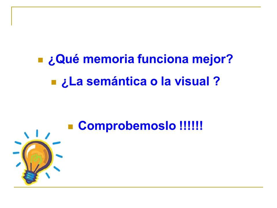 ¿Qué memoria funciona mejor ¿La semántica o la visual