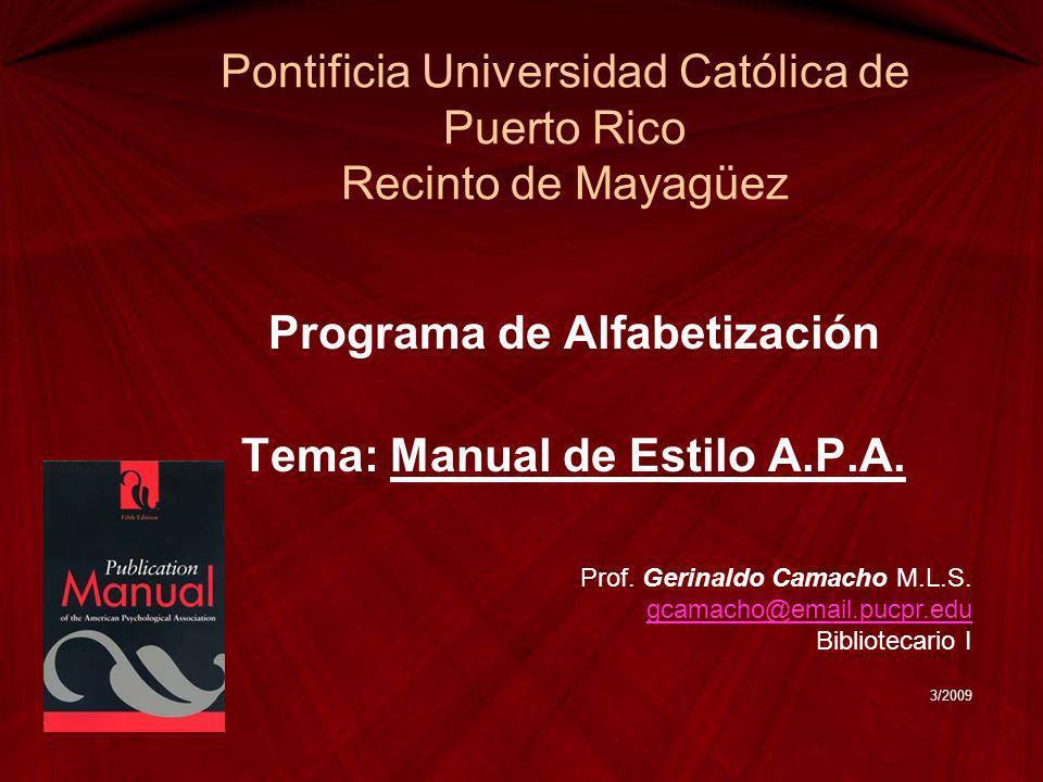 Pontificia Universidad Católica de Puerto Rico Recinto de Mayagüez
