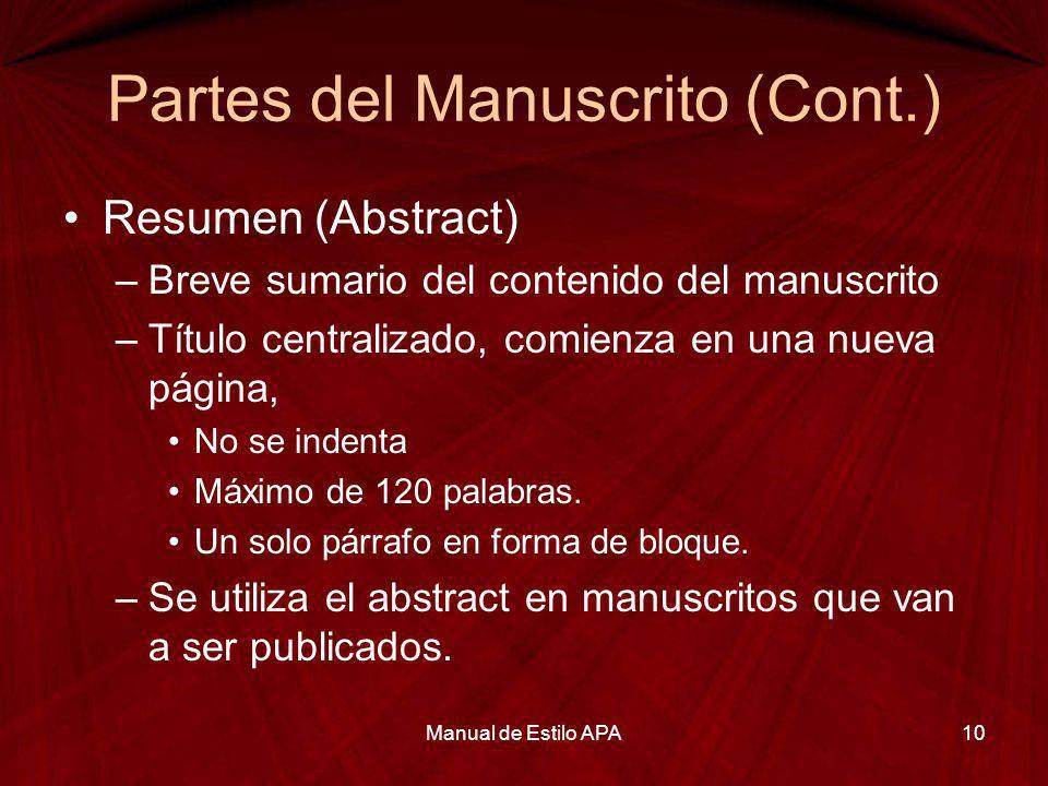 Partes del Manuscrito (Cont.)