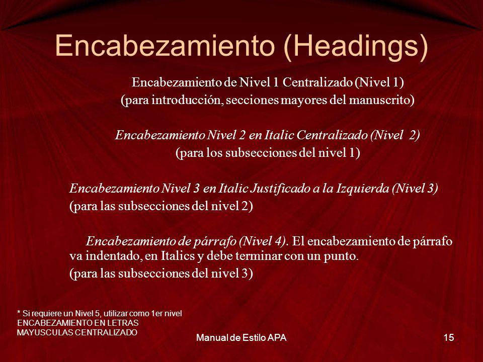 Encabezamiento (Headings)