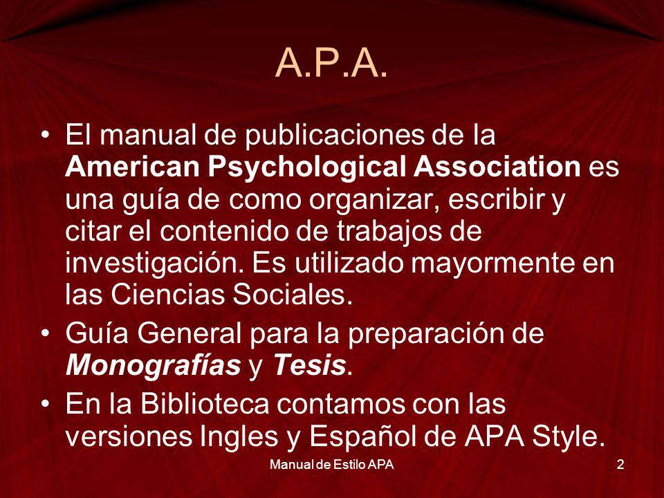 Manual de Estilo APA 24/03/2017. A.P.A.