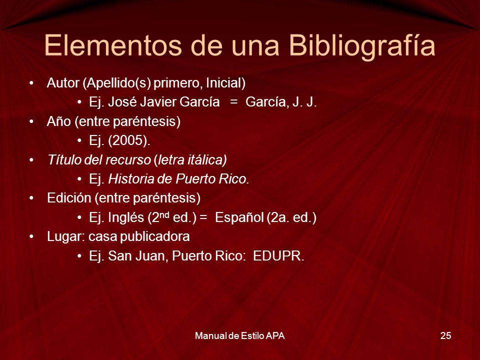 Elementos de una Bibliografía