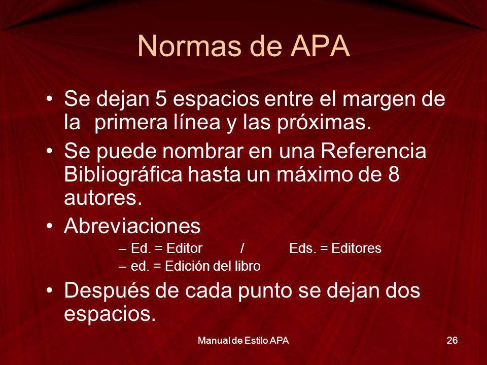 Normas de APA Se dejan 5 espacios entre el margen de la primera línea y las próximas.