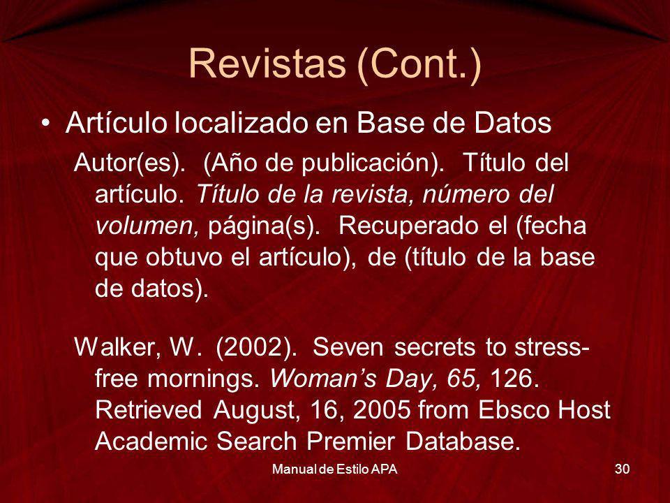 Revistas (Cont.) Artículo localizado en Base de Datos