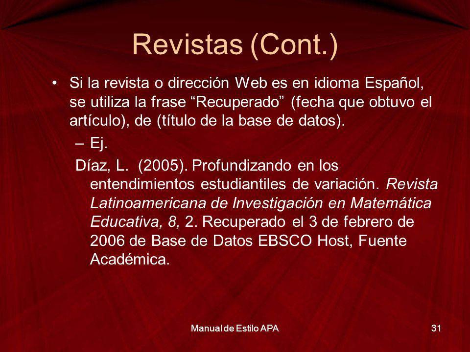 Revistas (Cont.)