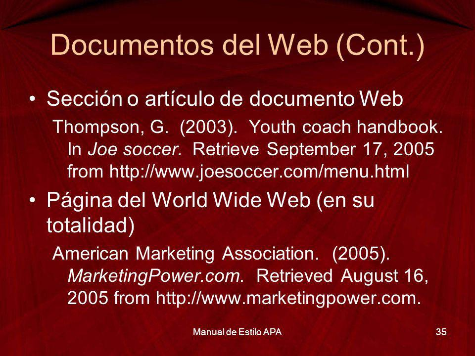 Documentos del Web (Cont.)