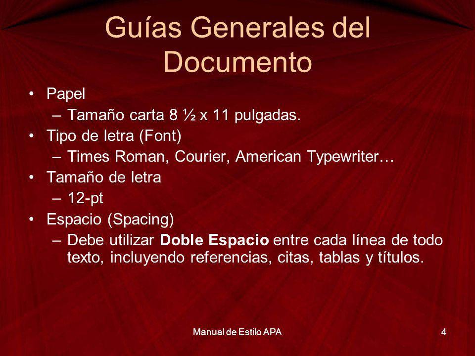 Guías Generales del Documento