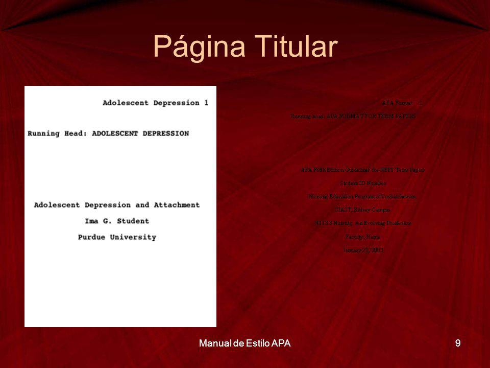 Página Titular Manual de Estilo APA