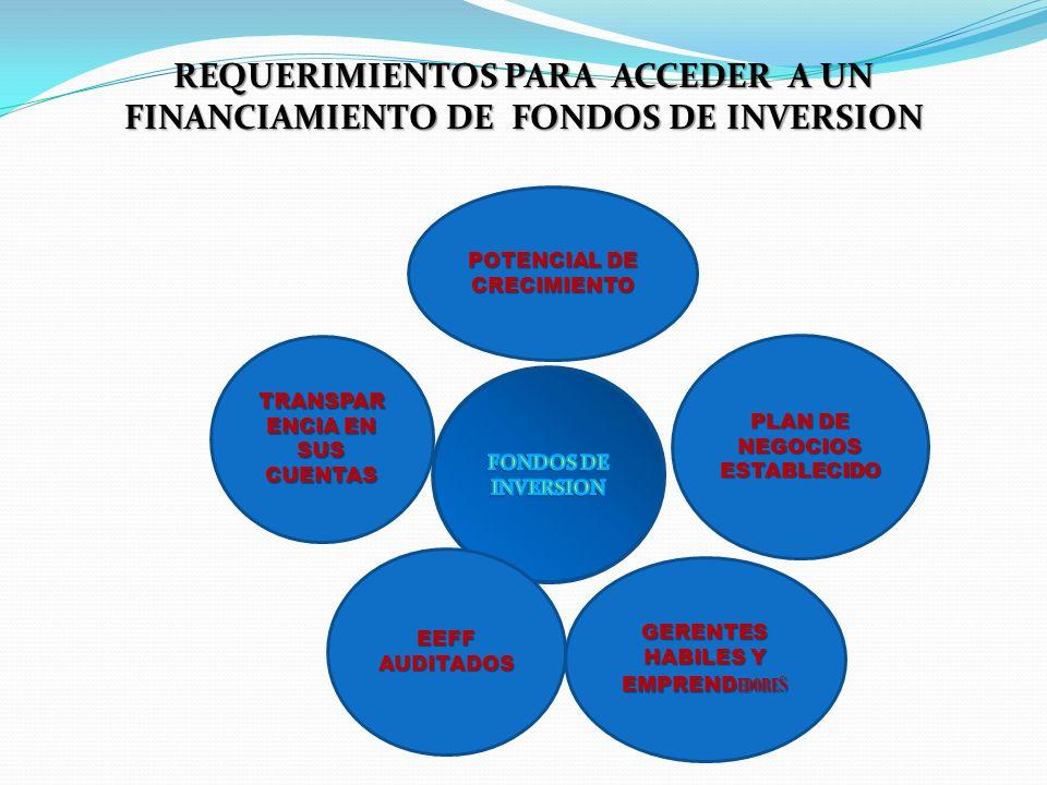 REQUERIMIENTOS PARA ACCEDER A UN FINANCIAMIENTO DE FONDOS DE INVERSION