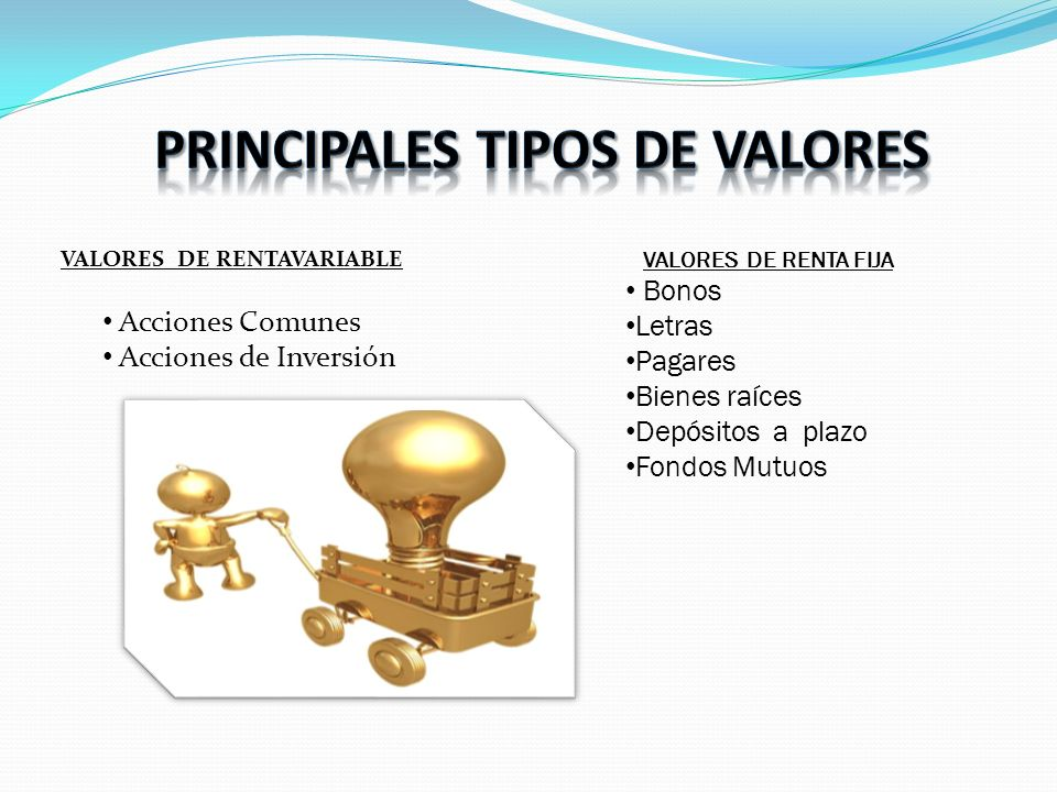 PRINCIPALES TIPOS DE VALORES