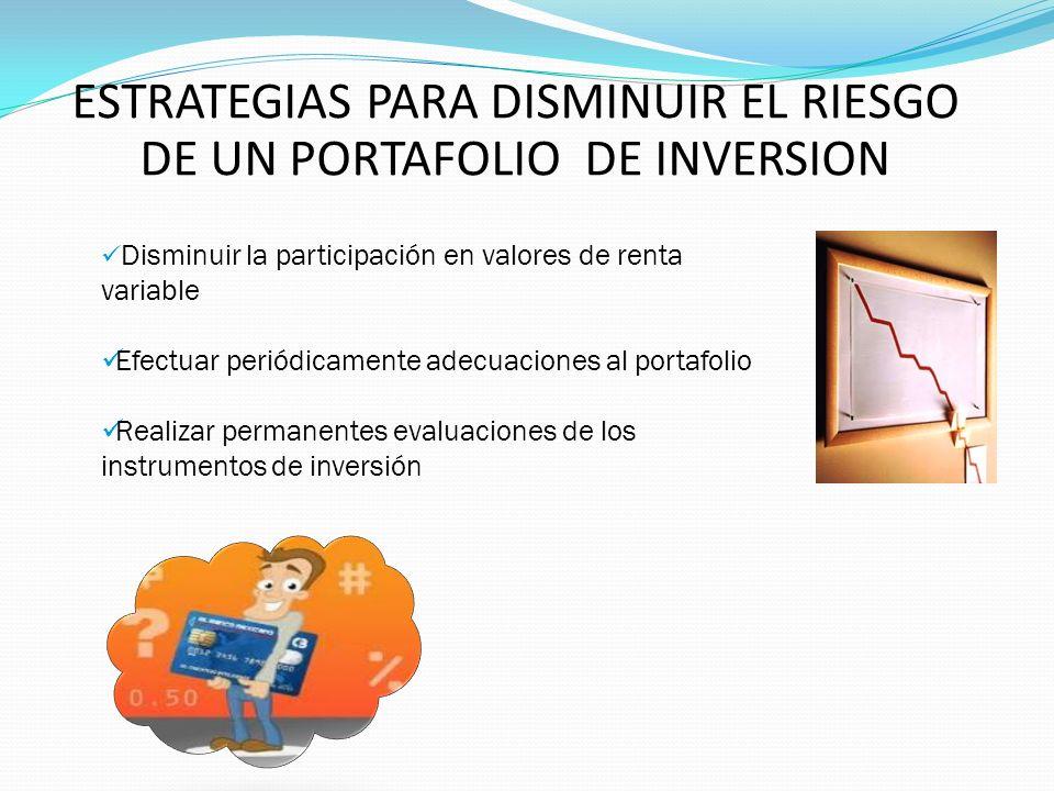 ESTRATEGIAS PARA DISMINUIR EL RIESGO DE UN PORTAFOLIO DE INVERSION